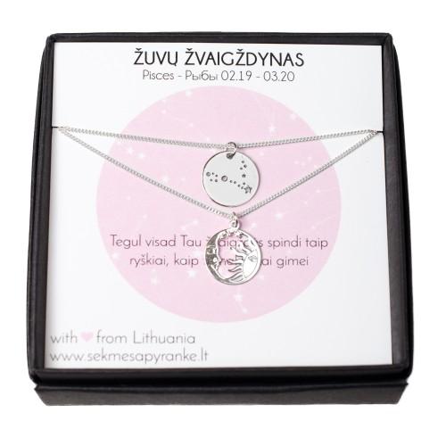 DVIEJŲ PAKABUKŲ RINKINYS ✷ Pasirinktas Zodiako žvaigždynas + mėnulis ir saulė